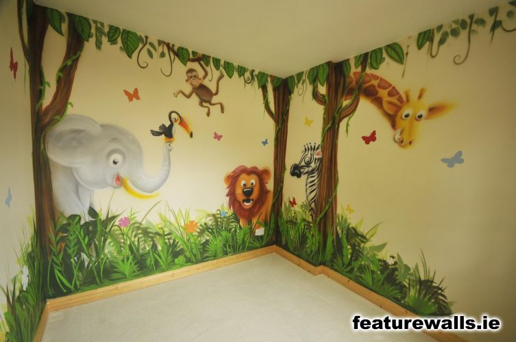 Fairy princess girls bedrooms fairytale mural pink for Baby jungle safari wall mural