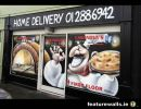 Business promotional window painting